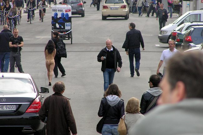 Naked woman walking down the street are not